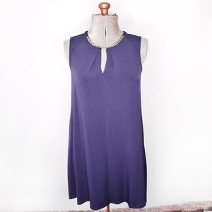 Calvin Klein Dark Blue Tunic Dress With Gold Chain